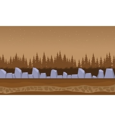 Brown backgrounds rock and spruce landscape vector image