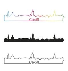 Cardiff skyline linear style with rainbow vector