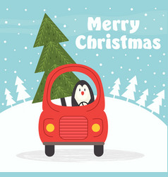 christmas card with penguin in car vector image vector image
