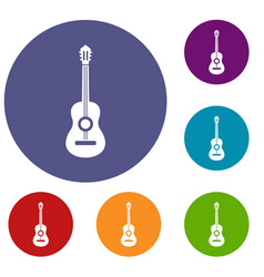 classical guitar icons set vector image vector image