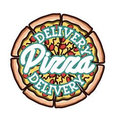 color vintage pizza delivery emblem vector image vector image