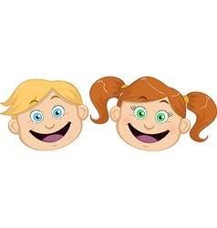 Cute boy and girl heads smiling vector