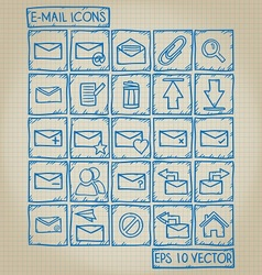 E-mail icon doodle set vector