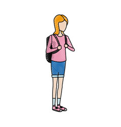 Female student in casual clothes standing cartoon vector