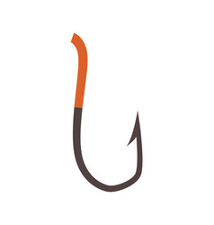 Fish hook icon in flat style vector