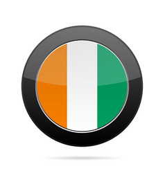 flag of ivory coast shiny black round button vector image vector image