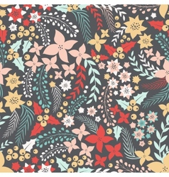 Flower seamless pattern with cute elements vector image vector image