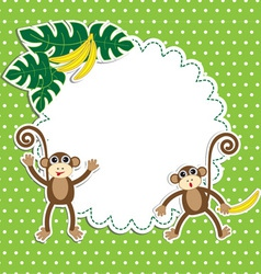 Frame with funny monkeys vector image vector image