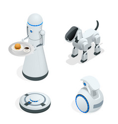 household isometric robots engineered for people vector image vector image