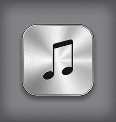 Music note icon - metal app button vector image vector image
