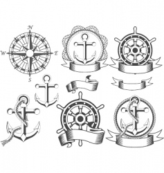 nautical emblems vector image vector image