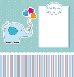 new baby shower card with elephant vector image vector image
