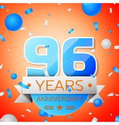 Ninety six years anniversary celebration on orange vector image