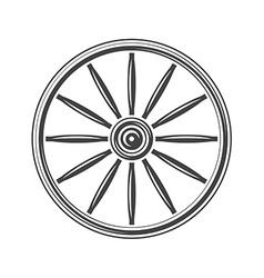 Old western wagon wheel Black icon logo element vector image