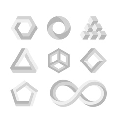 Paradox impossible shapes 3d twisted objects vector
