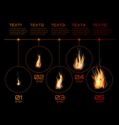 realistic fire flames set vector image