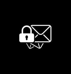 secure mail icon flat design vector image vector image