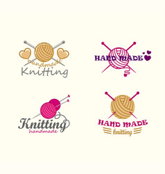 set of knitting logo elements vector image vector image