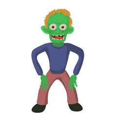 Standing zombie icon cartoon style vector