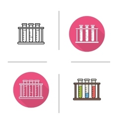 Test tubes rack icons vector