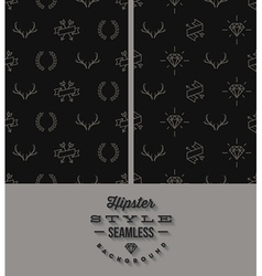 Two black hipster style seamless background vector image