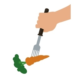 Carrot on fork icon vector