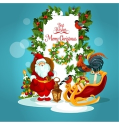 Christmas greeting card with santa and xmas tree vector