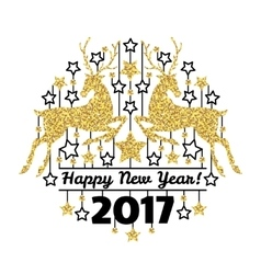 Happy new year card with golden deer silhouettes vector image