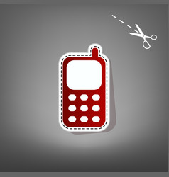 Cell phone sign  red icon with for vector
