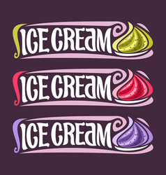 Set labels for fruit ice cream vector