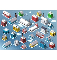 Set of isometric building in winter vector
