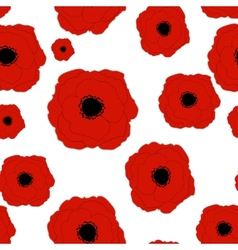 Red poppies flower seamless pattern background vector