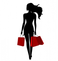 Young woman with bags vector