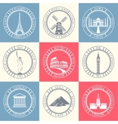 Set badges of travel vector
