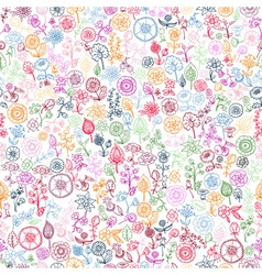 Hand drawn floral seamless background vector