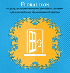 Door enter or exit icon sign floral flat design on vector
