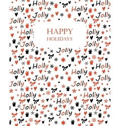 Christmas background with holly jolly lettering vector