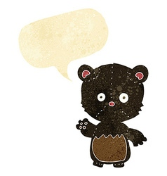 Cartoon little black bear waving with speech vector