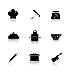 Kitchen tools drop shadow icons set vector