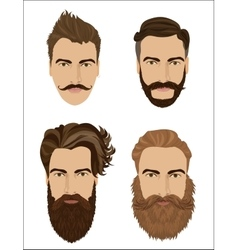 Man hair and beards styles hipster fashion high vector