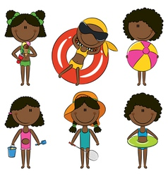 Cute happy african-american girls vector