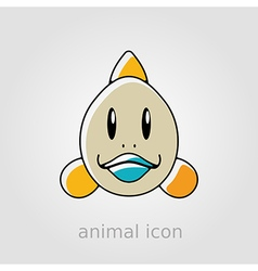 Fish flat icon animal head vector
