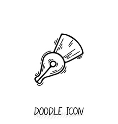 Fountain ink pen doodle outline icon vector