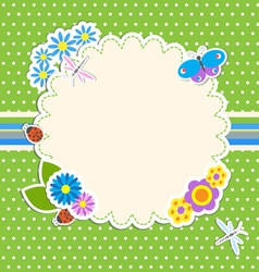 Frame with flowers and butterfly ladybugdragonfly vector