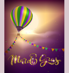 Balloon and decoration garland flag for mardi gras vector