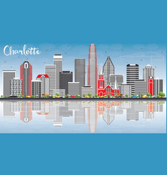 Charlotte skyline with gray buildings blue sky vector