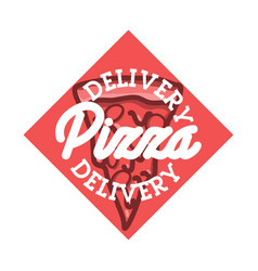 Color vintage pizza delivery emblem vector