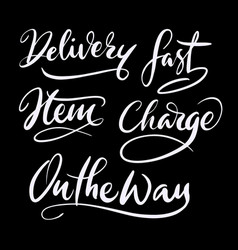 Delivery hand written typography vector