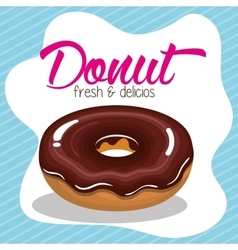 donut cream chocolate fresh and delicious graphic vector image vector image