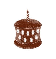Drawing birthday chocolate cake candle vector